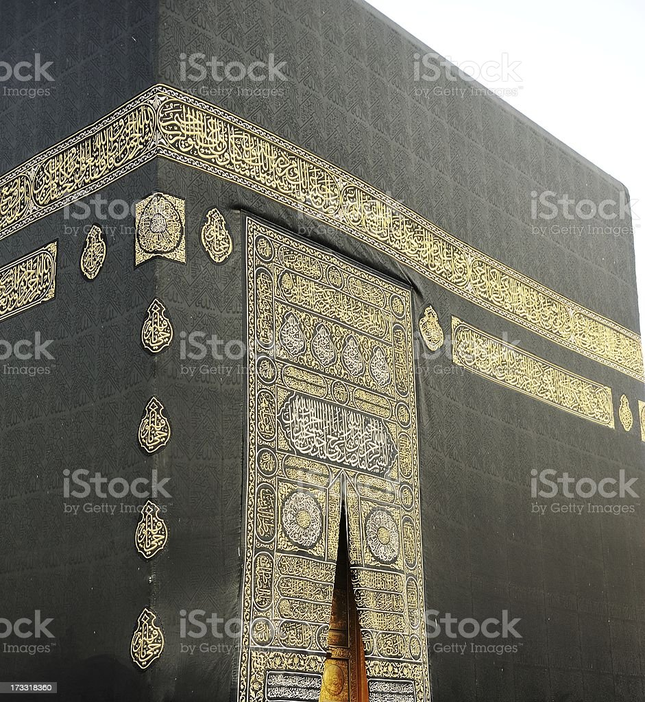 Makkah Kaaba Door With Verses From The Qoran In Gold Stock