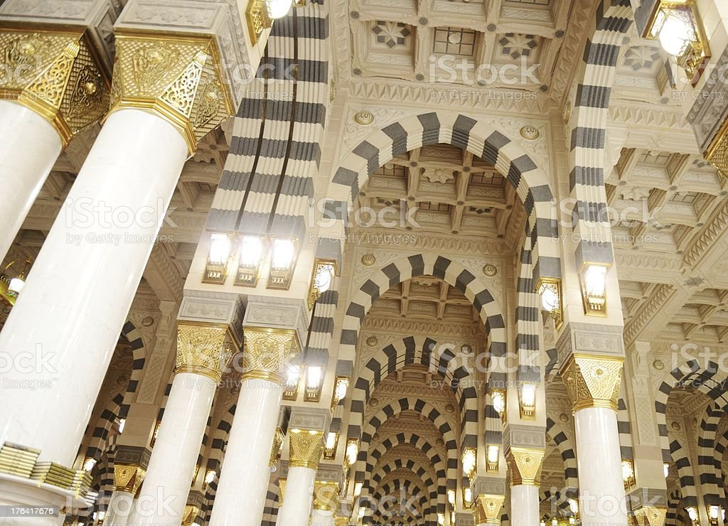 Makkah Kaaba mosque indoors pillars decoration stock photo