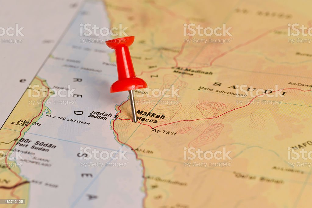 Mh Mecca Marked With Red Pushpin On Map Stock Photo ... on