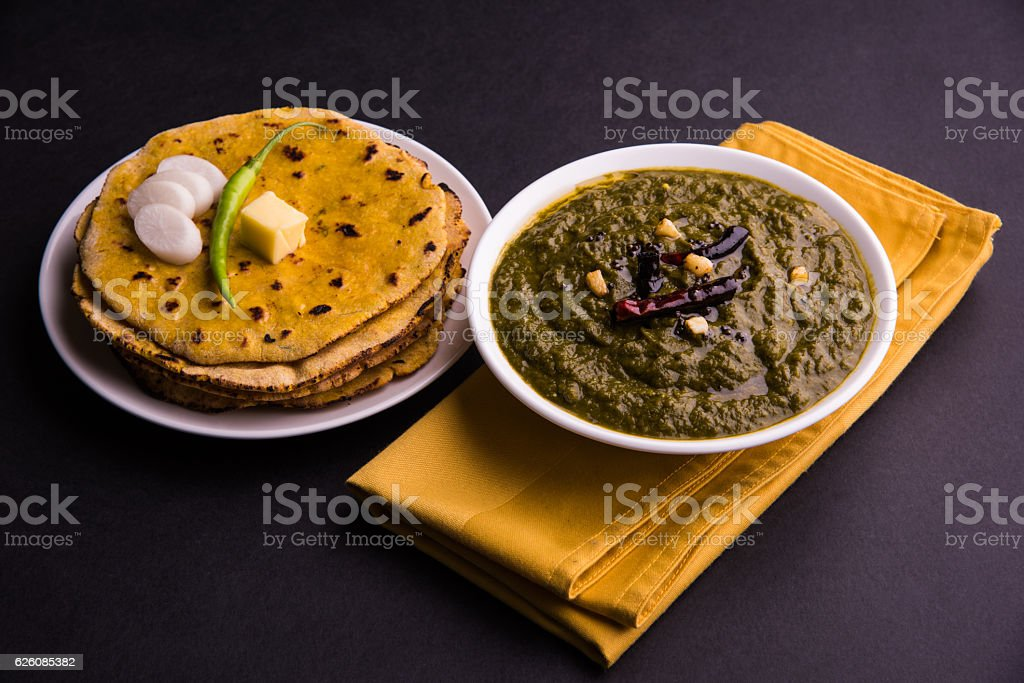 makki di roti and sarso ka saag stock photo