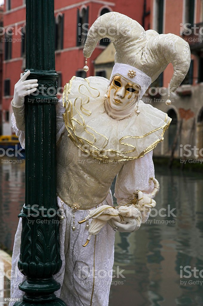 Maks with Jester costume at carnival in Venice royalty-free stock photo