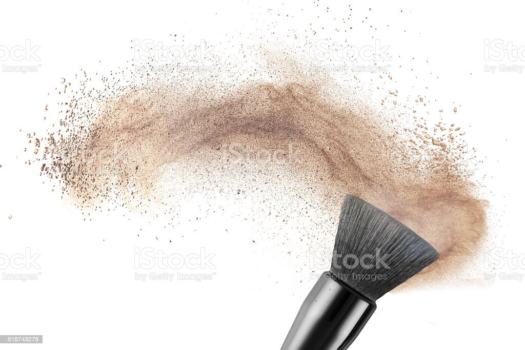 makup brush with powder foundation isolated stock photo