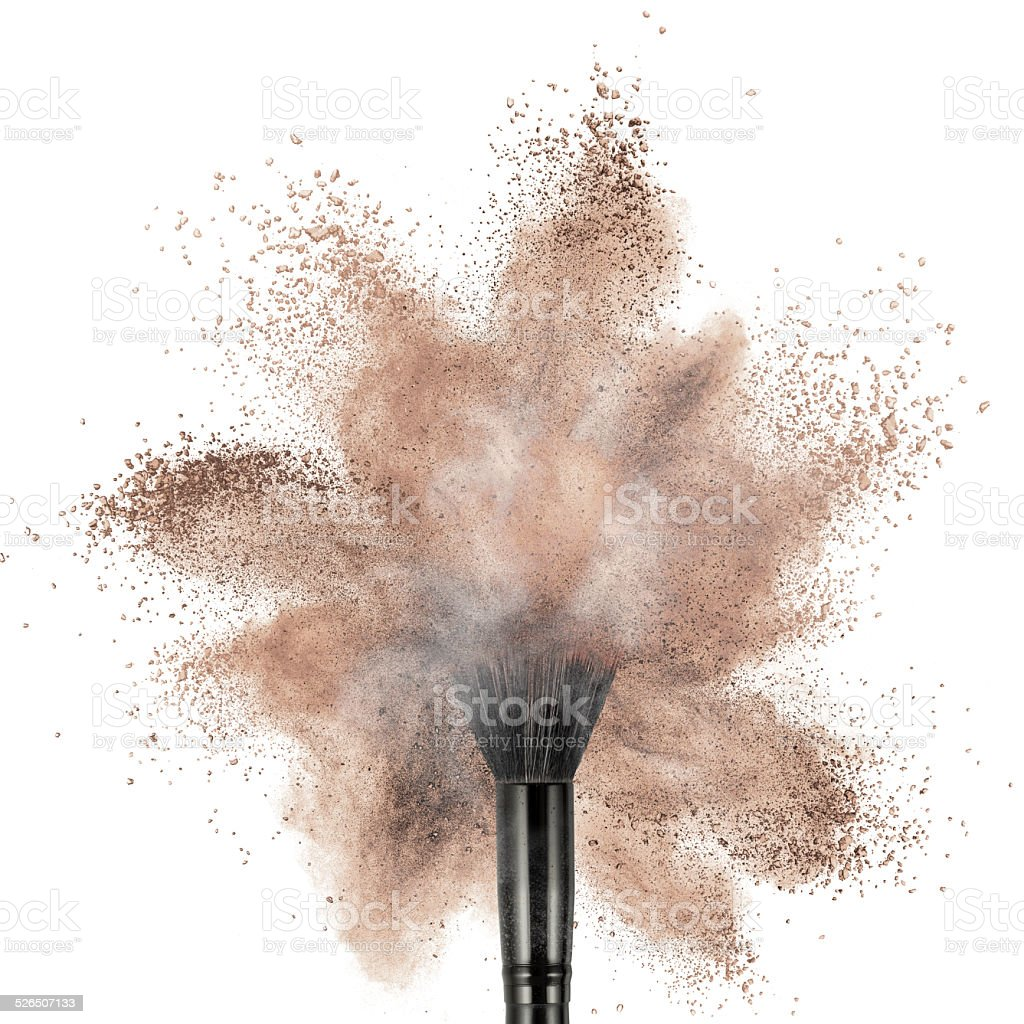 Cepillo de polvo makup con base aislada - foto de stock