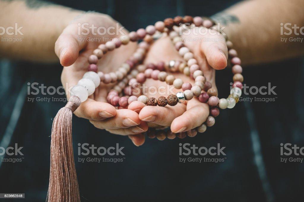 mala beads stock photo