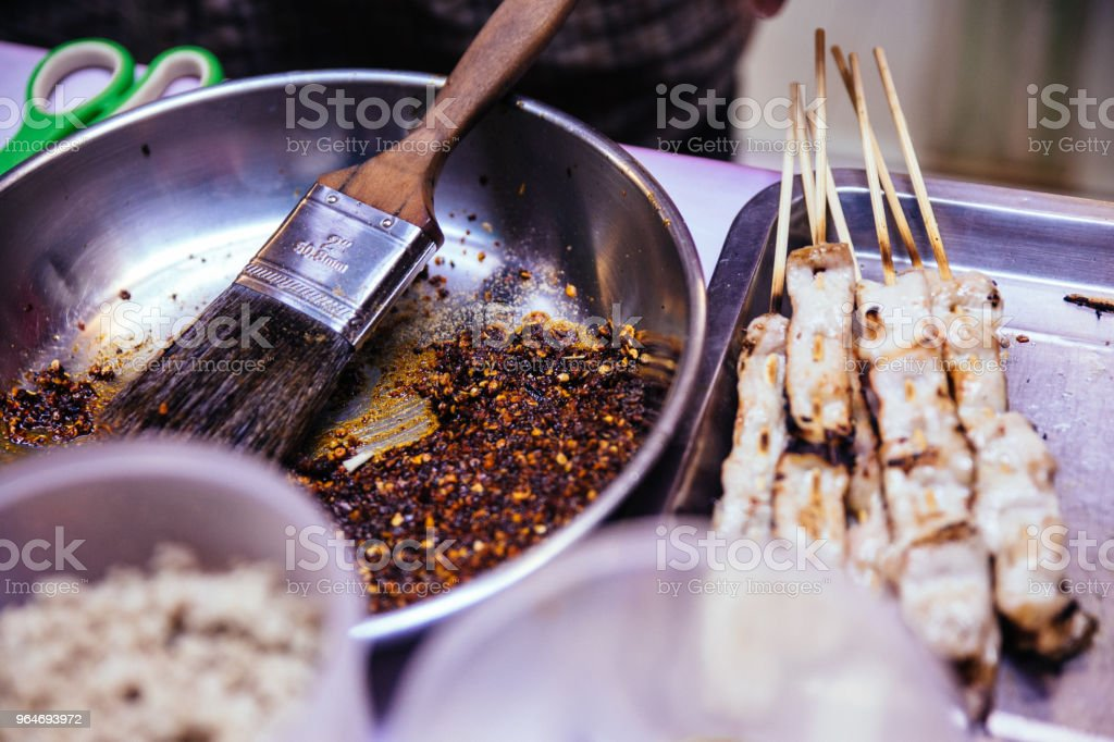 Mala Chinese BBQ is meat or vegetable grilled with Chinese hot and spicy spices. royalty-free stock photo