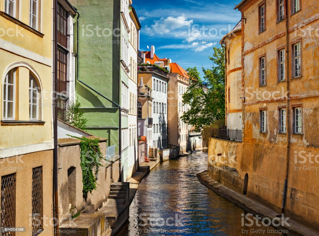 Mala Strana canal and houses in Prague stock photo