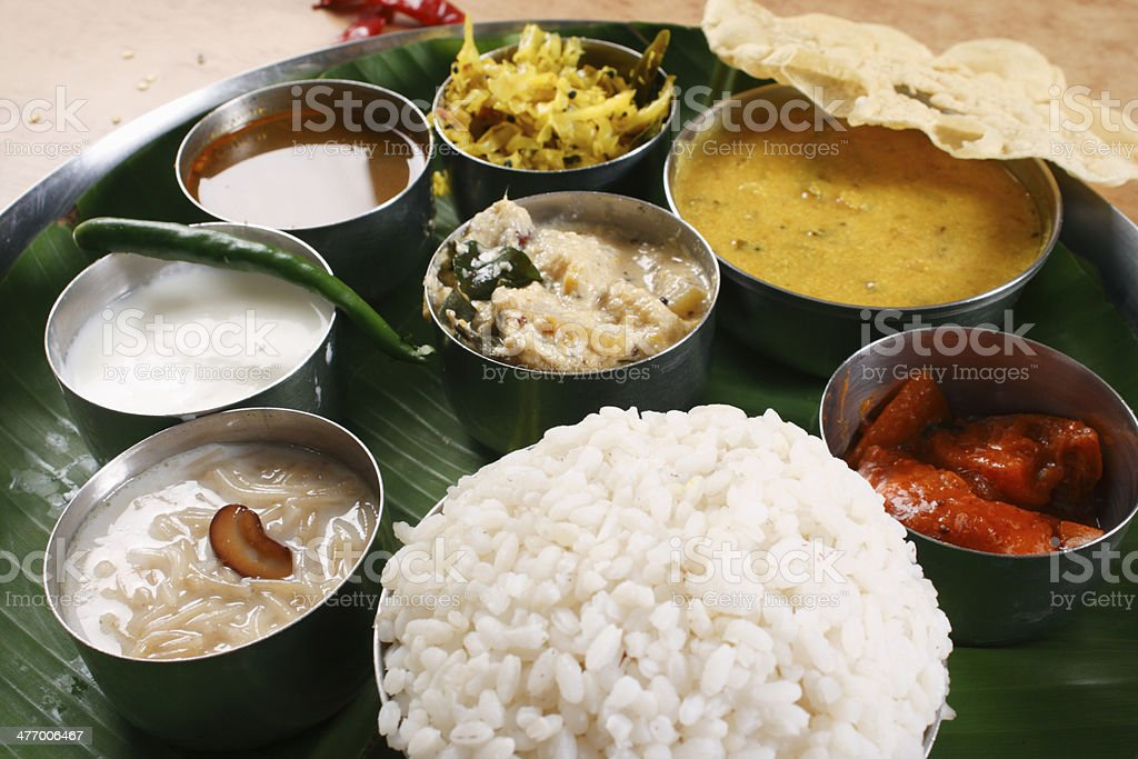 Malabar Thali - a selection of different dishes stock photo