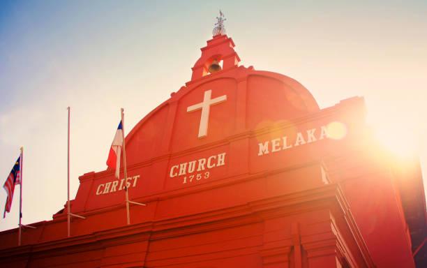 malacca christ church - malakka staat stockfoto's en -beelden