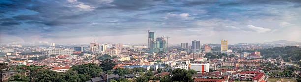 malacca cityscape panorama - malakka staat stockfoto's en -beelden