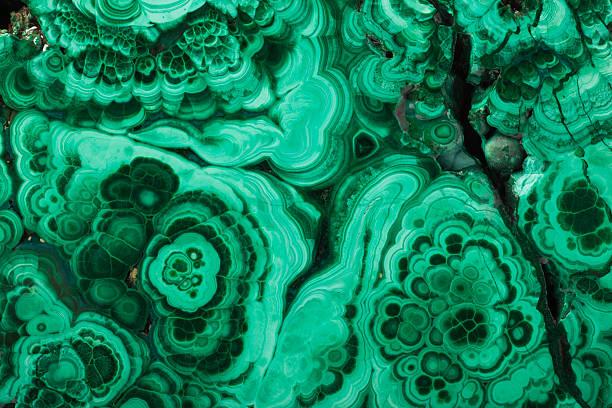 malachite texture close-up - malachiet stockfoto's en -beelden