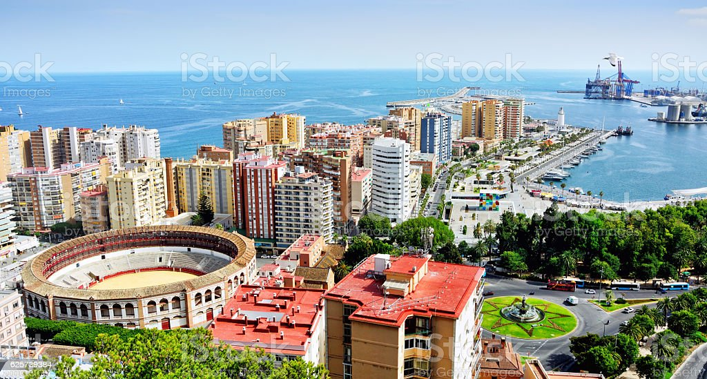 Malaga Cityscape, Spain stock photo