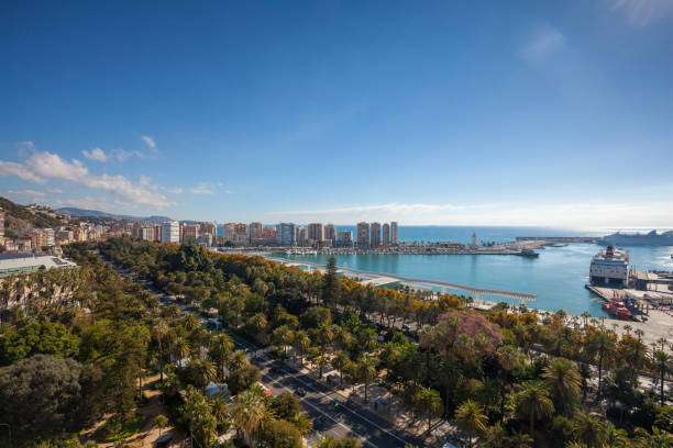 Malaga colorful landmark stock photo
