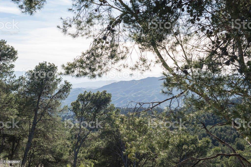 Malaga mountains sunset stock photo
