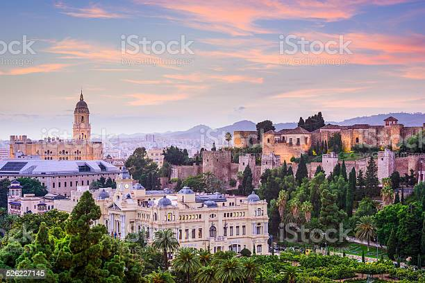 Malaga Spain Cityscape On The Sea Stock Photo - Download Image Now