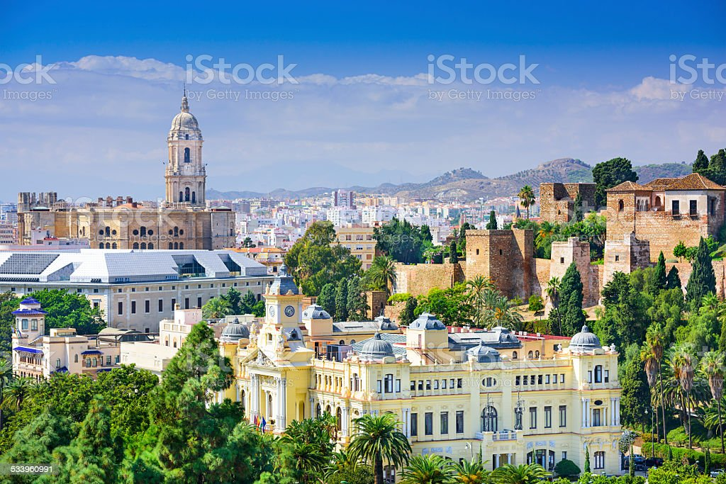 Malaga, Spain Cityscape on the Sea stock photo