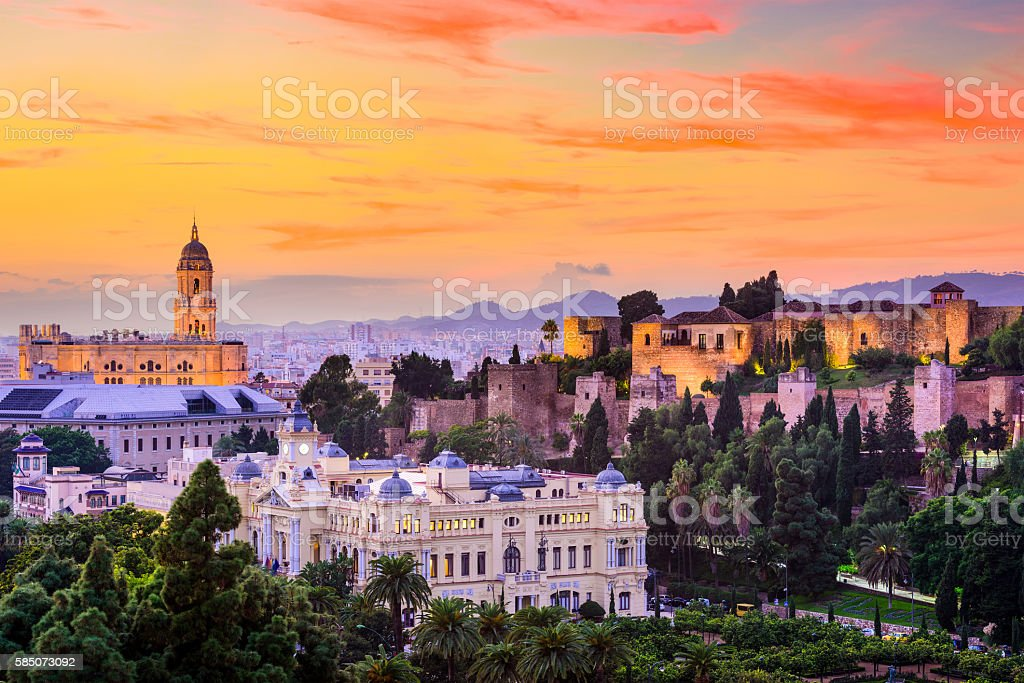 Malaga, Spain Skyline stock photo