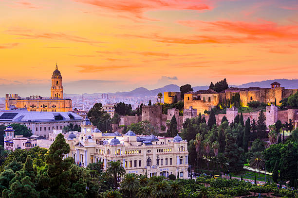 Malaga, Spain Skyline Malaga, Spain cityscape at the Cathedral, City Hall and Alcazaba citadel of Malaga. spain stock pictures, royalty-free photos & images