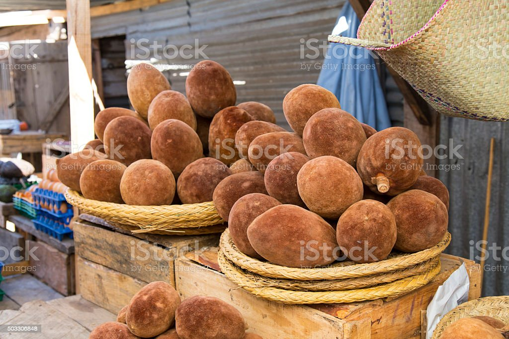 Malagasy baobab fruit in a food market stock photo