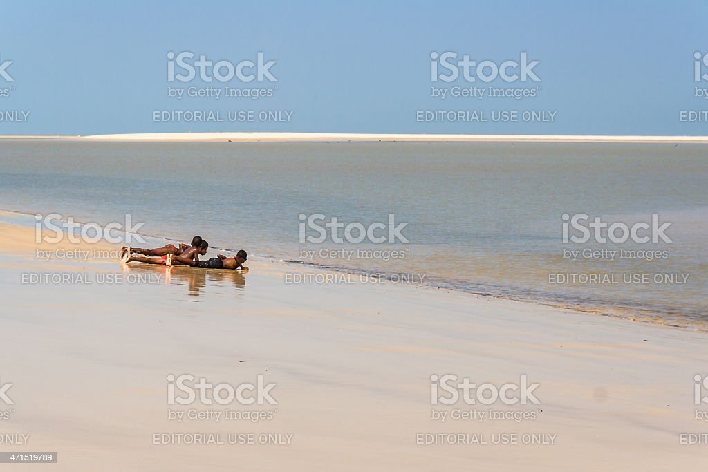 Malagasy children on the beach royalty-free stock photo