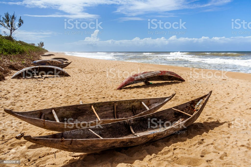 Malagasy fishing dugouts stock photo
