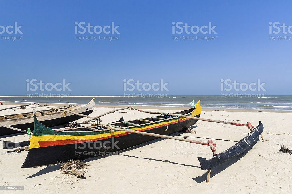 Malagasy outrigger canoes royalty-free stock photo