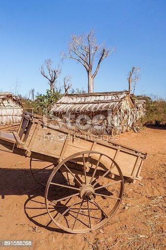Traditional village of Sakalava tribes along the river Tsiribihina, Madagascar