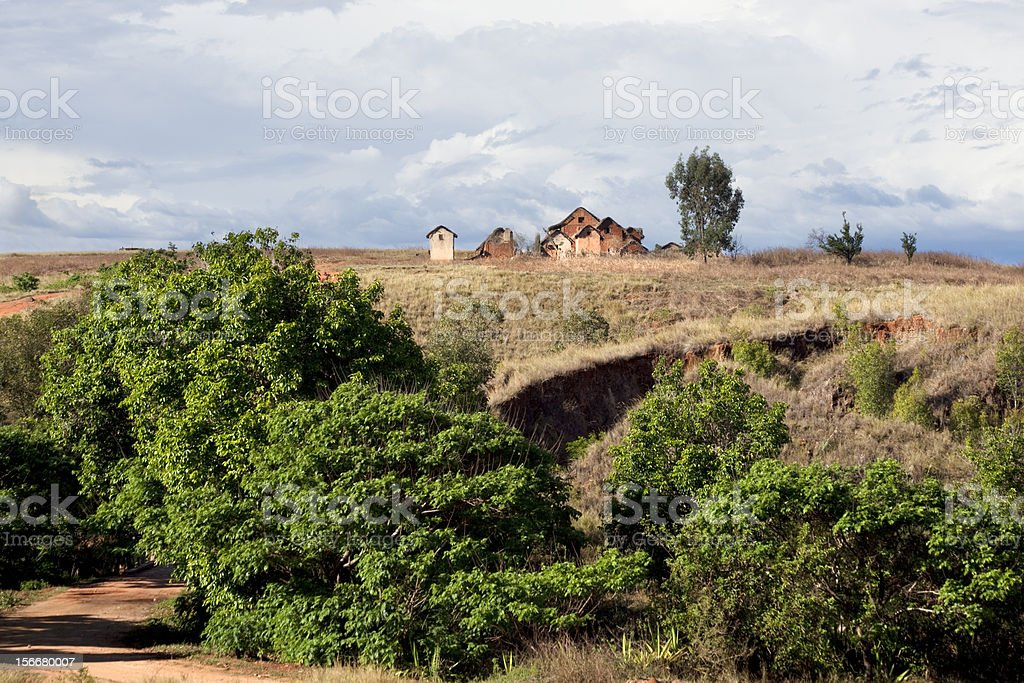 Malagasy Village Atop a Hill royalty-free stock photo