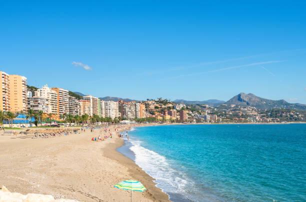 Malagueta Beach in Malaga. Andalusia, Spain - foto de stock