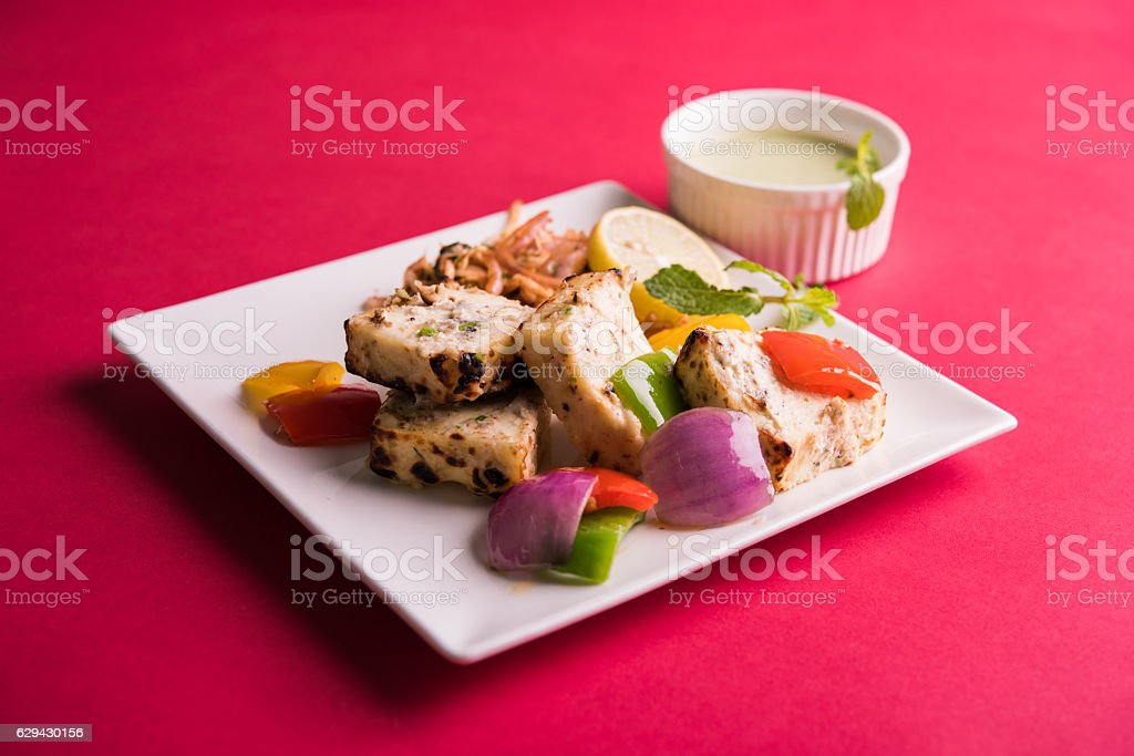 malai paneer tikka or paneer kabab stock photo