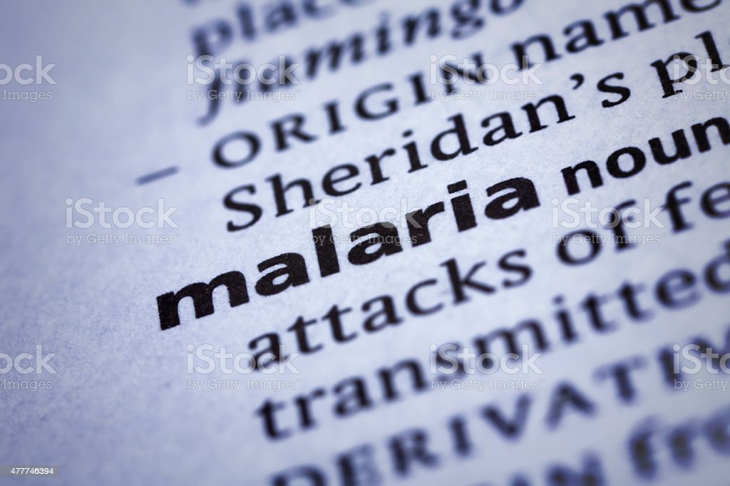 Malaria: Dictionary Close-up stock photo