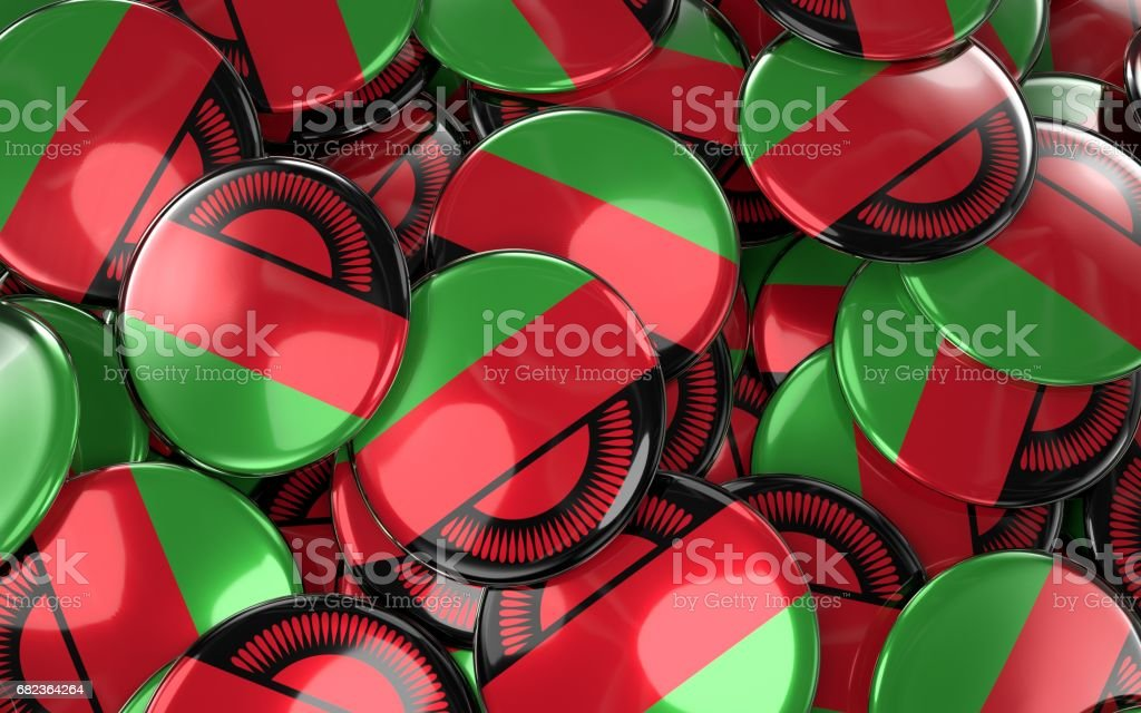 Malawi Badges Background - Pile of Malawian Flag Buttons. foto stock royalty-free