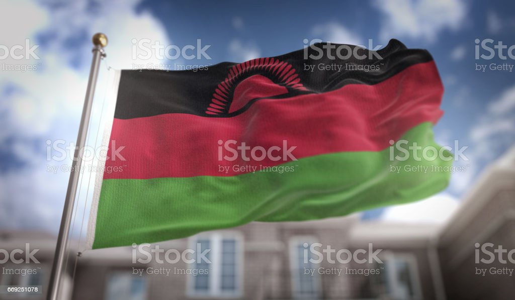 Malawi Flag 3D Rendering on Blue Sky Building Background stock photo