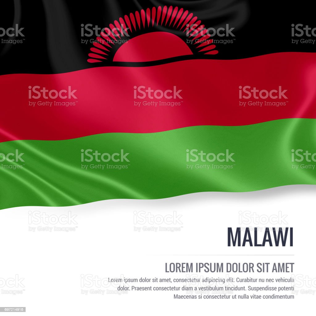 Malawi flag. Silky flag of Malawi waving on an isolated white background with the white text area for your advert message. 3D rendering. stock photo