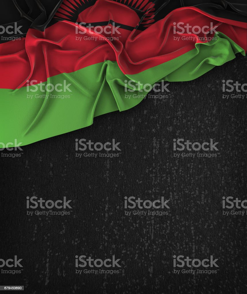 Malawi Flag Vintage on a Grunge Black Chalkboard With Space For Text stock photo