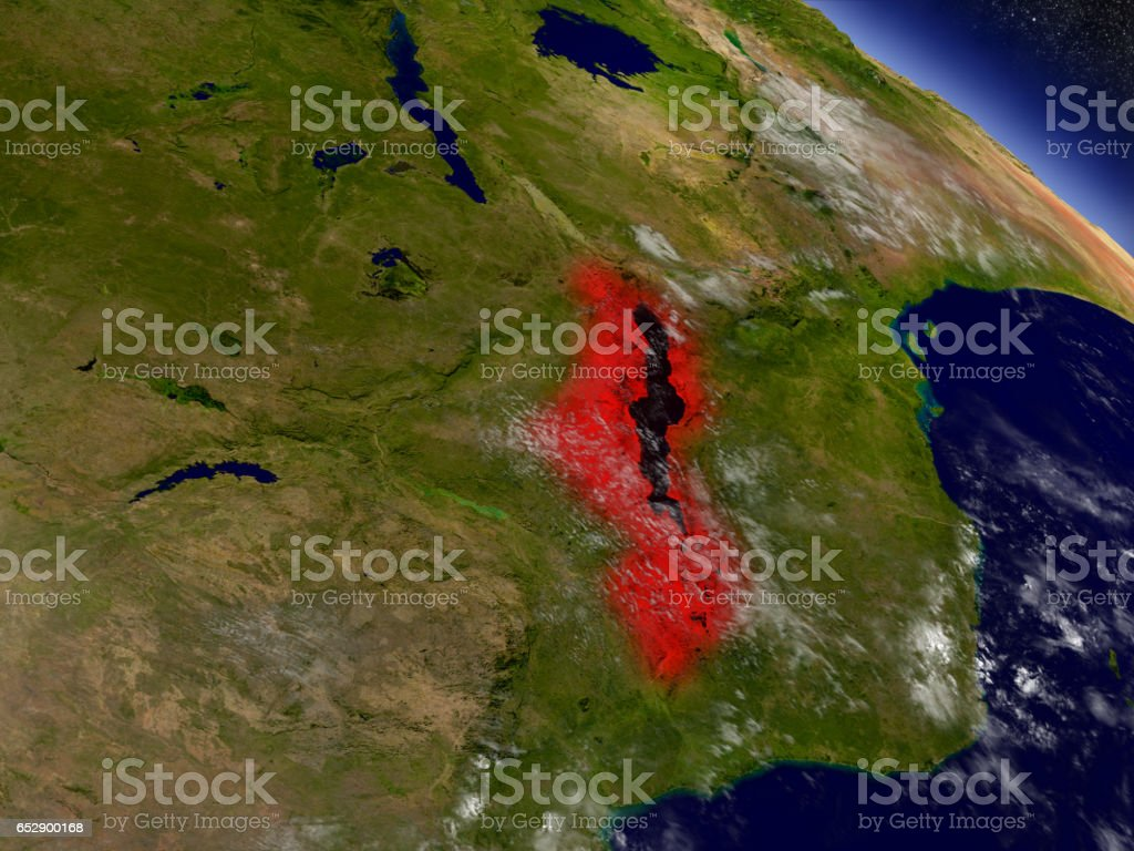 Malawi from space highlighted in red stock photo