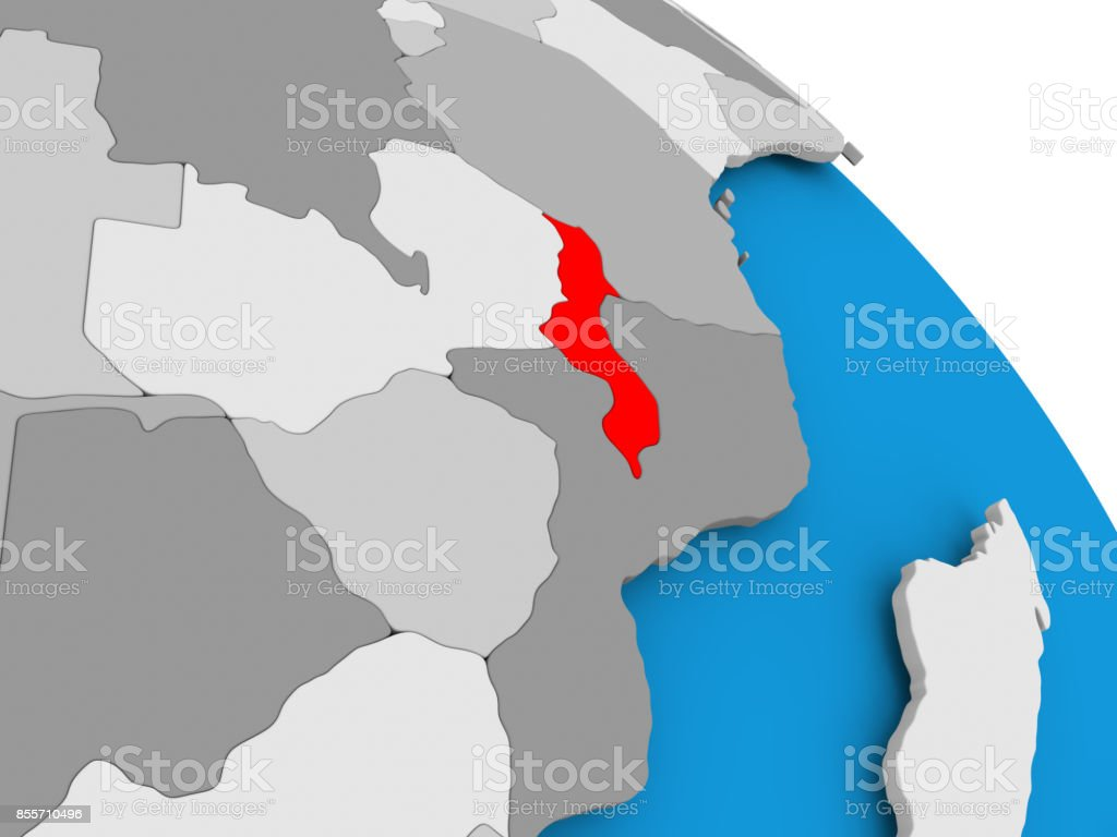 Malawi in red on map stock photo