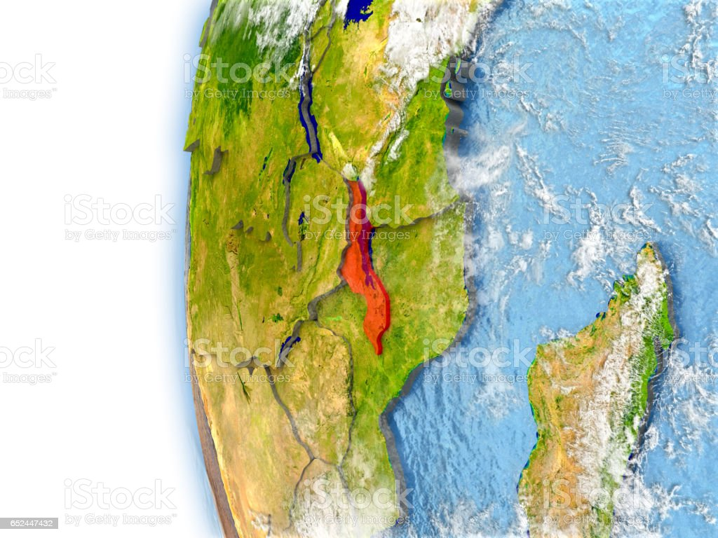 Malawi on model of Earth stock photo