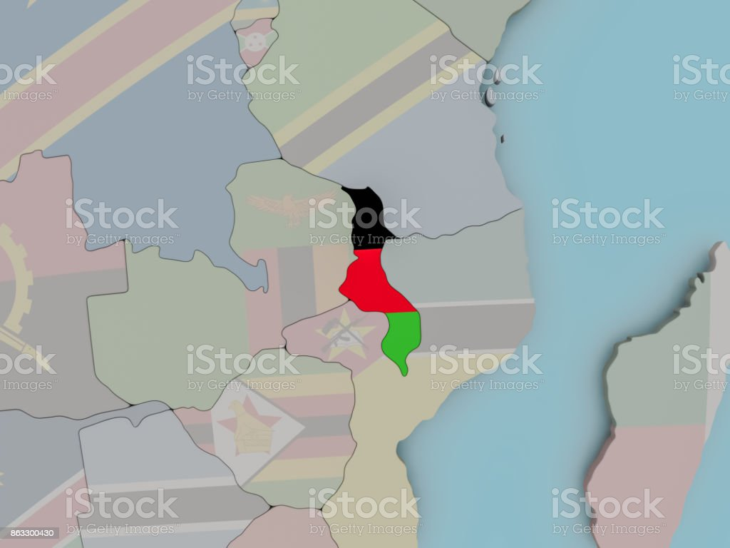 Malawi on political globe with flag stock photo