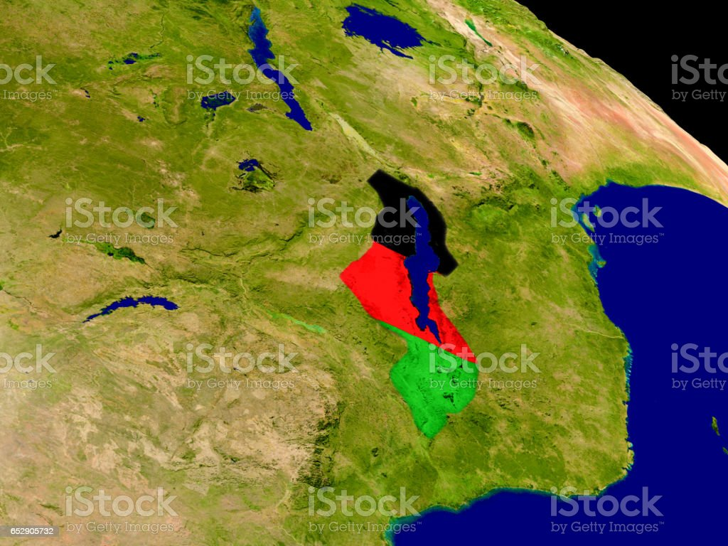 Malawi with flag on Earth stock photo