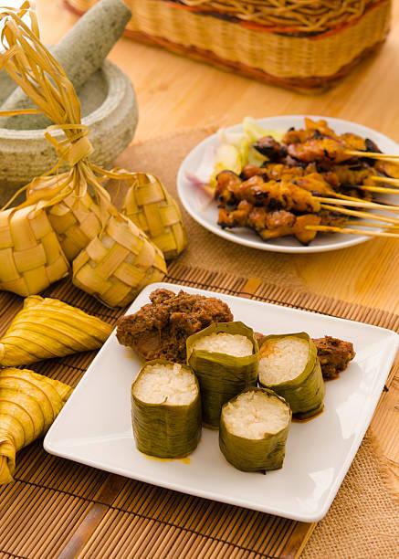 hari raya alimentos malaios lemang, concentre-se em lemang - foto de acervo