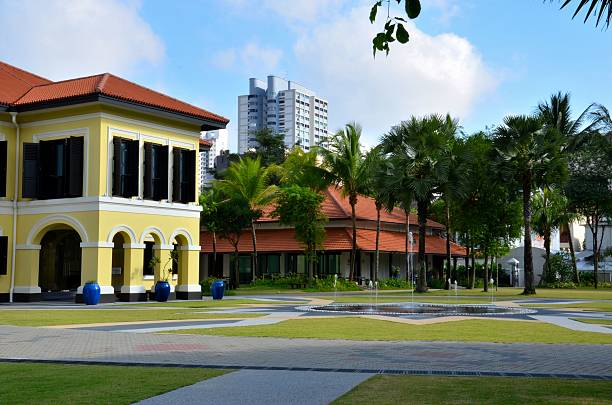Malay Heritage Centre and fountain, Kampong Glam Singapore stock photo
