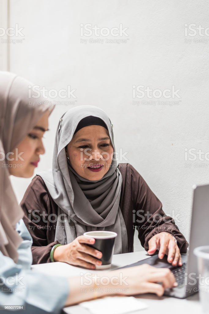 Malay women using lap top zbiór zdjęć royalty-free