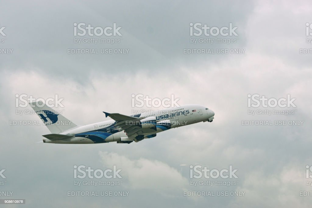 Malaysia Airlines aircraft taking off stock photo