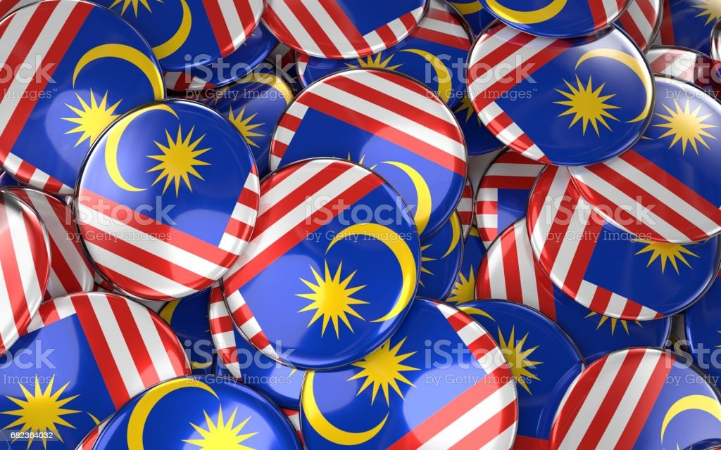 Malaysia Badges Background - Pile of Malaysian Flag Buttons. zbiór zdjęć royalty-free