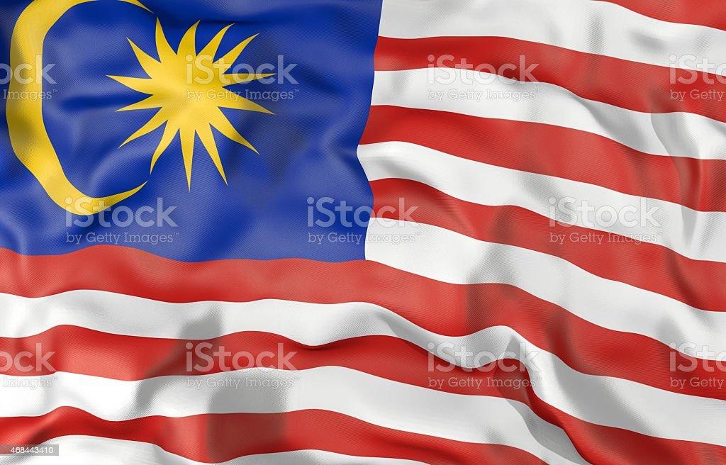 Ilustração 3d da bandeira Malásia - foto de acervo