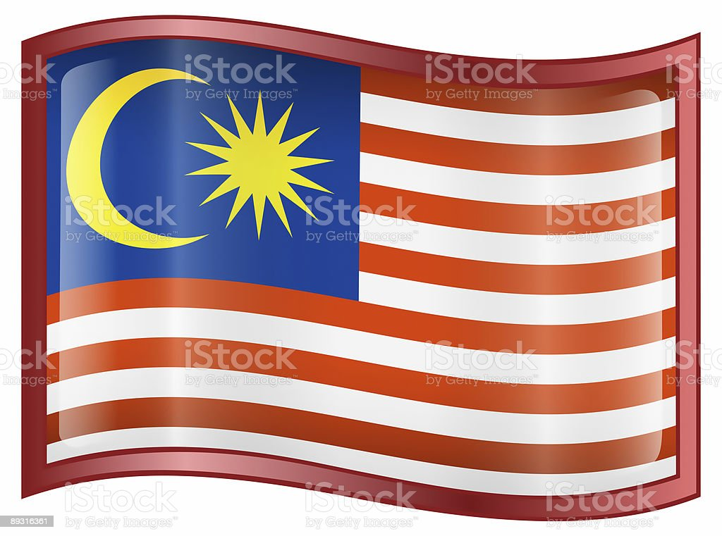 Malaysia Flag Icon, isolated on white background. royalty-free stock photo