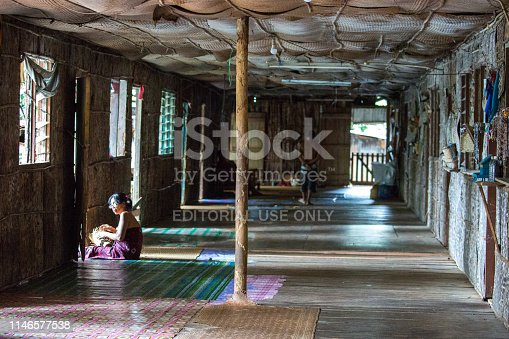 A longhouse of the Iban tribe on Batang Ai lake in Borneo.