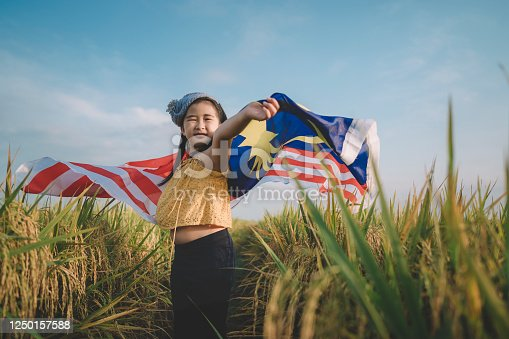 malaysia independence day an asian chinese young girl wrapped with malaysia flag at padi field enjoying morning sunlight and feel proud and happy
