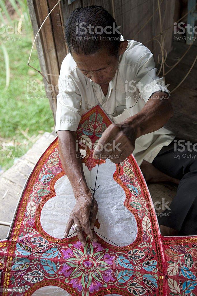 Malaysia, making kites. stock photo