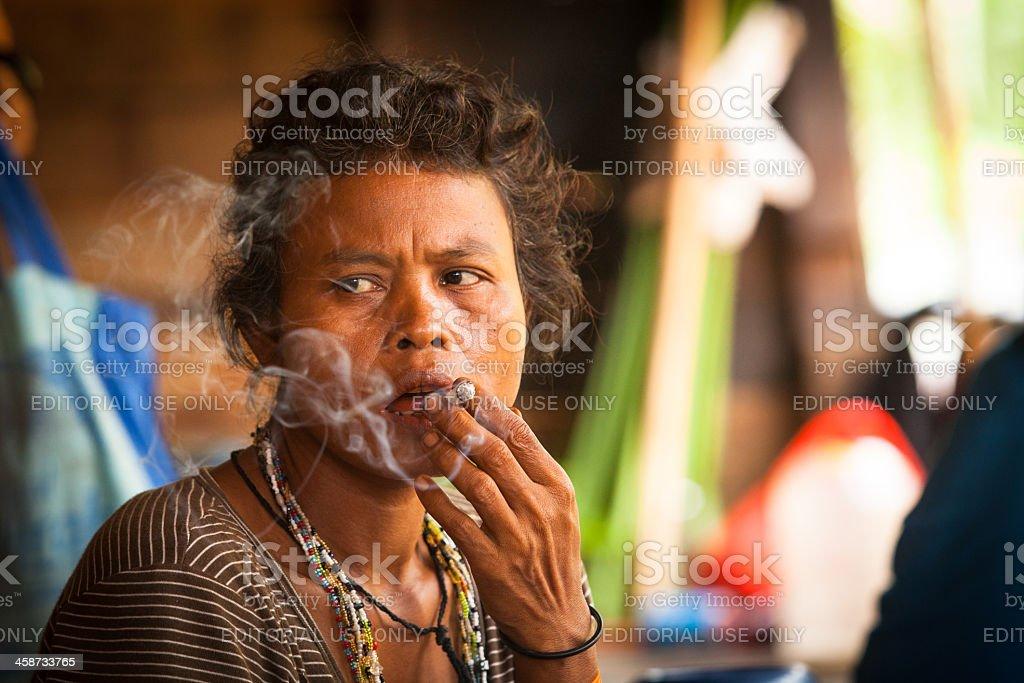 Malaysian aborigines Orang Asli in his village stock photo